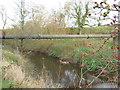 SJ6661 : A twenty two inch water main crosses the River Weaver by Dr Duncan Pepper