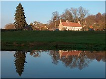 SE7365 : Manor Farm, Kirkham reflected in the River Derwent by Neil Theasby
