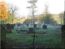 TM1763 : Morning mist, Debenham cemetery by Chris Holifield
