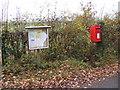 TM1773 : Notice Board & Bush Farm Corner Postbox by Adrian Cable