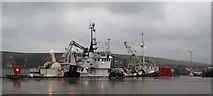 HU4039 : Norwegian pelagic trawler sheltering in Scalloway harbour by Robert W Watt