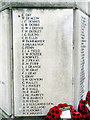 TL1829 : Hitchin War Memorial - World War Two Panel - D to H by John Lucas