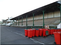 ST5295 : A stand and many red wheelie bins, Chepstow Racecourse by Jaggery