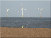 TG5307 : Great Yarmouth: angler and offshore wind farm by Chris Downer