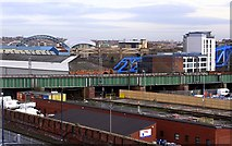NZ2463 : Tyne bridges from Times Square car park by Andrew Curtis