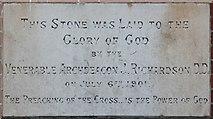 TQ3068 : St Philip, Beech Road, Norbury - Foundation stone by John Salmon