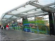 SO9198 : Footbridge, Wolverhampton transport interchange by Rose and Trev Clough