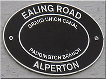 TQ1783 : Canal bridge sign, Ealing Road Alperton over Grand Union Canal Paddington Branch by David Hawgood
