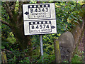 SN7774 : Close-up of pre-Worboys road sign on the road between Cwmystwyth and Pont-Rhyd-y-groes by Phil Champion