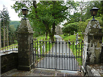 SN7673 : Gates and gateposts at Hafod Church by Phil Champion