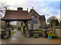 SD9704 : Lychgate and  the Church of St Anne, Lydgate by David Dixon