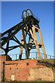 SK4964 : Pleasley Colliery - north shaft headgear by Chris Allen