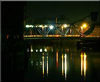 TA1029 : North Bridge from Drypool Bridge at Nighttime by Andy Beecroft