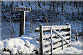NT4001 : A snow-plastered dyke and gate at Linhope by Walter Baxter