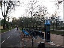 TQ2479 : Bike Station, Holland Park, Kensington by David Anstiss