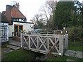 SU4763 : Footbridge in pub garden by Sandy B