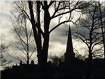 SK2168 : Bakewell church and trees in silhouette by Peter Barr
