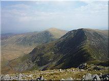 SH6963 : Pen yr Helgi Du across Bwlch Eryl Farchog by Alan O'Dowd