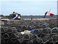 SZ1891 : Mudeford: lots of lobster pots by Chris Downer