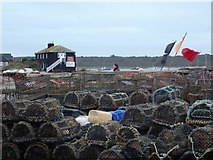 SZ1891 : Mudeford: lots of lobster pots by Chris Downer