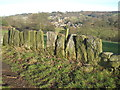 SK3463 : Slab wall and Ashover village by Lesley Eddleston