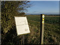 TL0673 : Leaf information boards by the bridleway by Michael Trolove