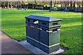SP0584 : Recycling / litter bin at the Vale, University of Birmingham by Phil Champion