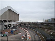 TQ3884 : View of the road to the Aquatics Centre, viewed from Westfield Way by Robert Lamb