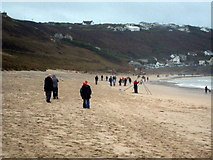 SW3526 : Sennen Beach on New Year's Day 2012 by Rod Allday