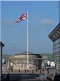 HU4741 : Lerwick: flag on Victoria Pier by Chris Downer
