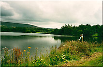 SD5151 : Lake and angler, Wyeside Fisheries by Peter Bond