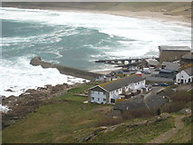 SW3526 : Sennen Cove harbour and lifeboat station by Rod Allday