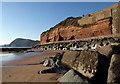 SY1286 : Cliffs and beach, Sidmouth by Derek Harper
