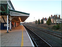 SO5140 : Platform 1, Hereford railway station by Jaggery