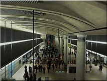 TQ3780 : Entrance hall, Canary Wharf Underground Station by Robin Sones