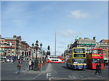 O1534 : Buses on O'Connell Bridge, Dublin by Richard Humphrey