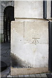SY6778 : Benchmark on the St Mary Street face of the Guildhall by Roger Templeman