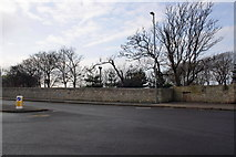 SY6874 : Castle Road wall near entrance to Osprey Leisure Centre by Roger Templeman