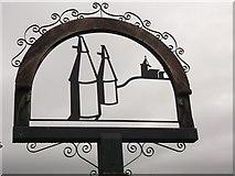 TQ6648 : East Peckham Village Sign (Close-up) by David Anstiss