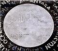 """J3474 : HMS """"Belfast"""" plaque, Belfast by Albert Bridge"""