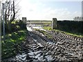 SE4806 : Muddy footpath entrance, Bilham Lane by Christine Johnstone