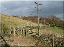 SE0023 : Stile on footpath to Sandy Pickle, Cragg Vale by Humphrey Bolton