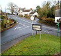 ST3796 : Old-style road sign, Llangybi by Jaggery