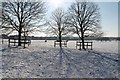 SK9672 : Lincoln West Common in snow by J.Hannan-Briggs