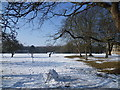 TL4556 : Homerton College playing fields in snow by Marathon