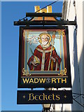 ST5038 : Glastonbury - The Sign Of Beckets Inn by Chris Talbot