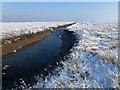 TF4134 : The Wash coast in winter - Blue creek in the frozen salt marsh by Richard Humphrey