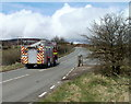 SO2509 : Fire engine on an emergency callout heads north along Abergavenny Road, Blaenavon by Jaggery