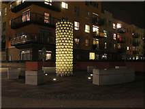 TQ3979 : Illuminated artwork, Greenwich Millennium Village by Stephen Craven