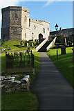 SM7525 : St David's Cathedral: gatehouse to the cathedral close by Christopher Hilton
